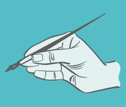 An illustration of a hand holding a writing tool