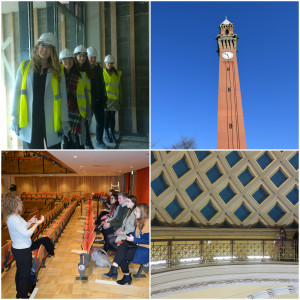 A collage of images from students on a campus tour