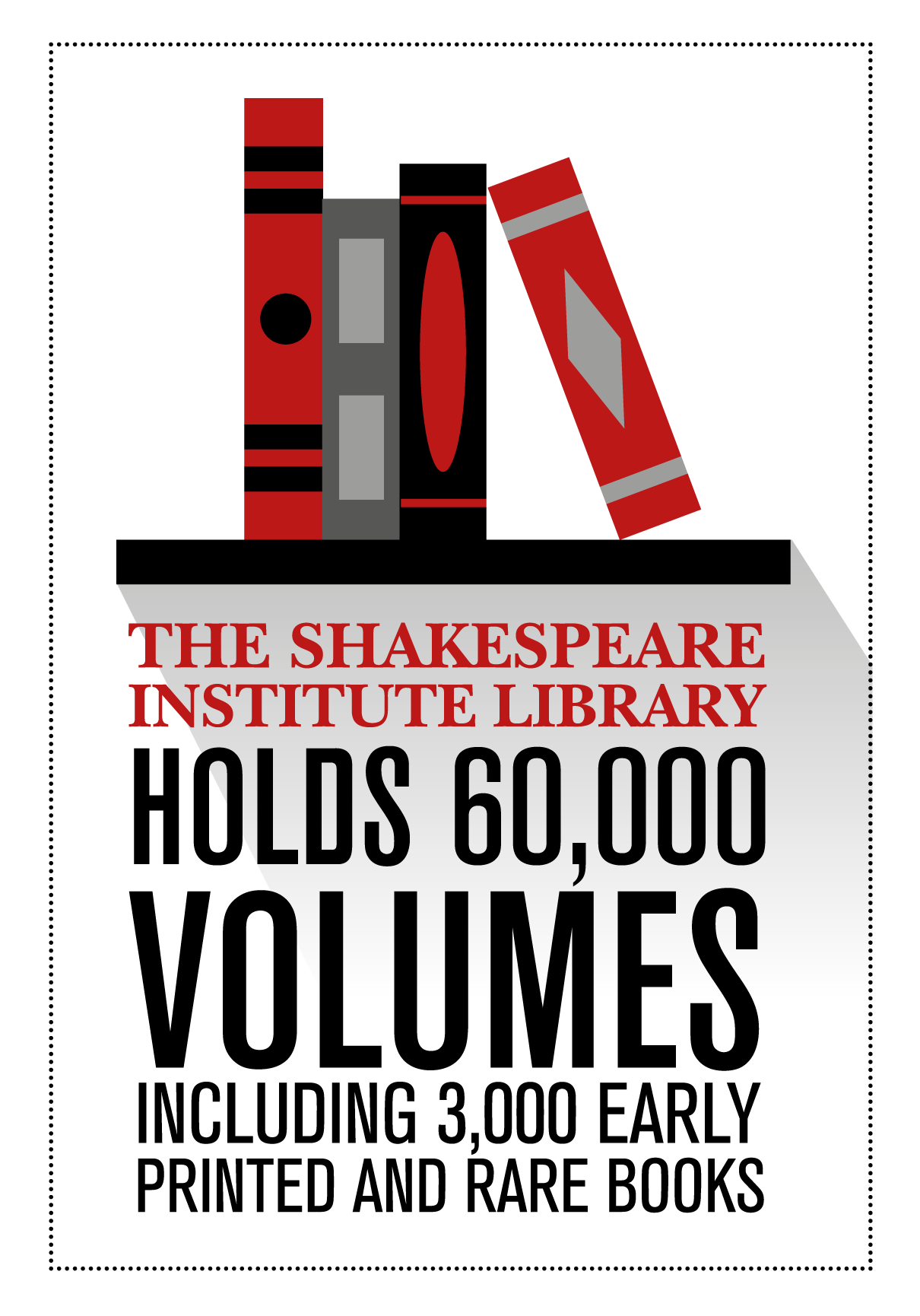 The Shakespeare institute library holds 60,000 volumes including 3,000 early printed and rare books