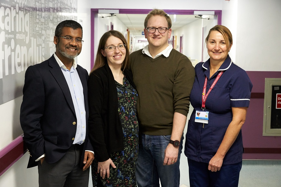 Professor Arri Coomarasamy with Charlotte and Kelvin Jay-Jones and Tommy's Research Midwife Debbie Bullen