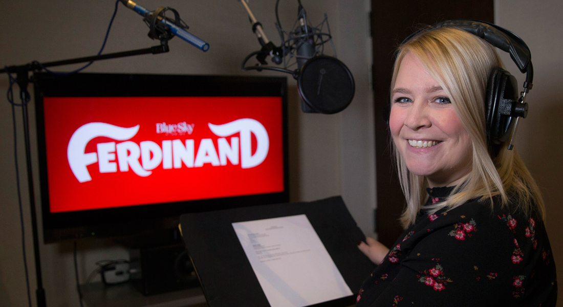 Emma recording her lines for Ferdinand in a studio