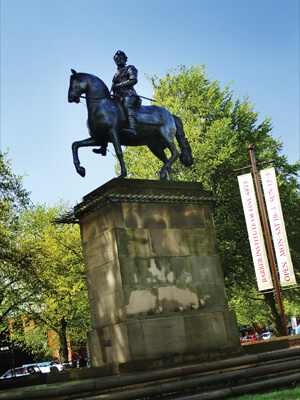 Statue of George I, outside the Barber Institute
