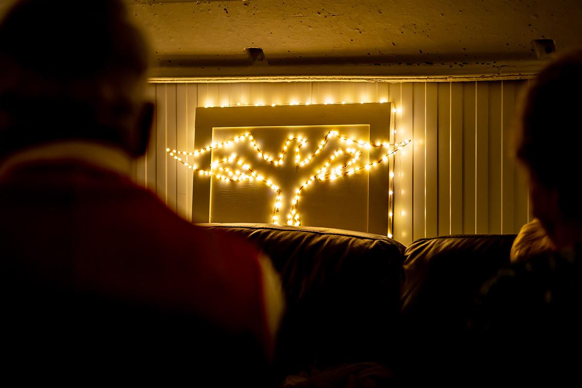 Firebird logo lit up in dark room