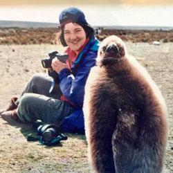 Elizabeth Seakins with penguin