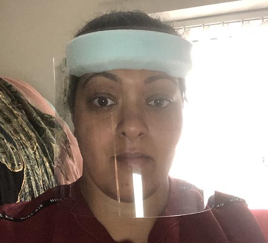 Geeta wearing face visor