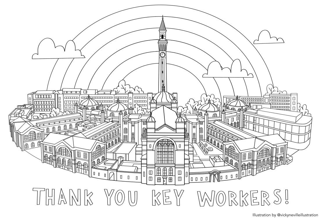 Colouring sheet of Birmingham campus with rainbow and words Thank you key workers
